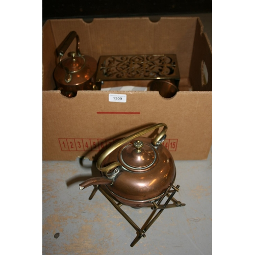1309 - Copper spirit kettle on stand, another oval copper kettle and sundry metalware...