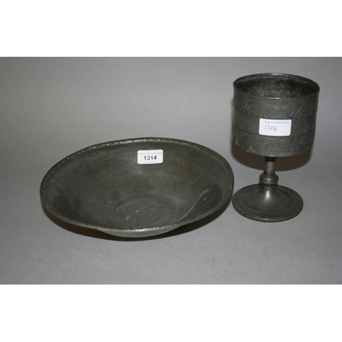 1314 - Liberty & Co. Tudric pewter dish together with an antique pewter goblet...