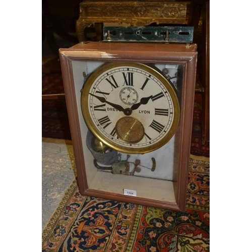 1324 - Electric wall clock, signed Drevon, Lyon, the 9in dial with subsidiary seconds and recessed pierced ...