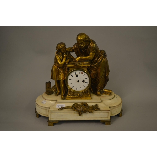 1325 - 19th Century French ormolu and marble mantel clock surmounted by figures reading from a book (moveme...