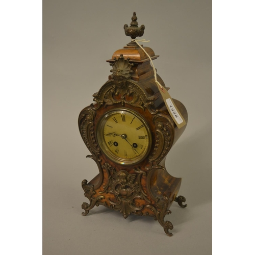1328 - Small late 19th Century French beechwood and figured walnut two train mantel clock with patinated me...