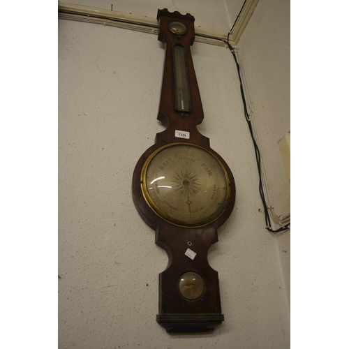 1329 - George III mahogany wheel barometer (for restoration or parts)...
