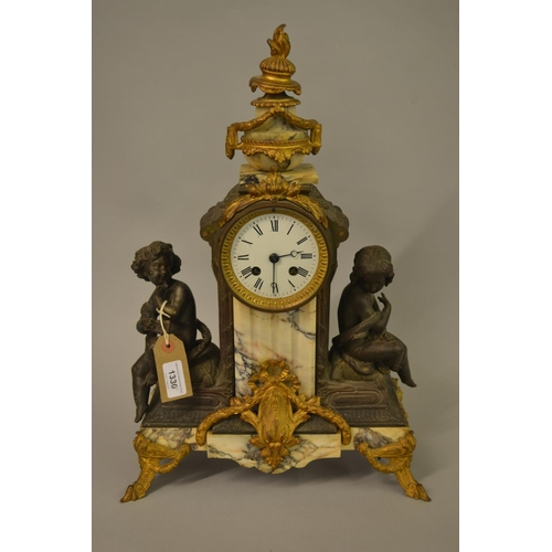 1330 - Late 19th / early 20th Century French mantel clock mounted with marble gilt metal and patinated spel...