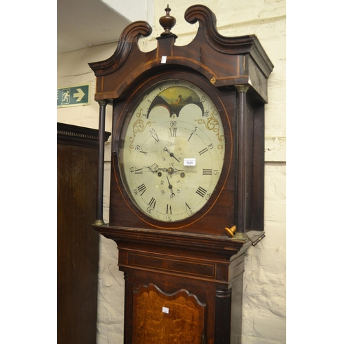 1331 - Unusual George III oak and mahogany crossbanded longcase clock, the swan neck pediment above an oval...