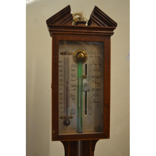 1337 - Mahogany and line inlaid stick barometer with silvered dial...