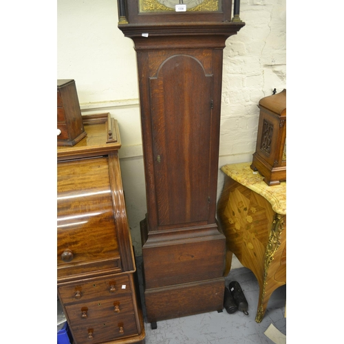 1338 - George III oak longcase clock, the broken arch hood with flanking pilasters above a moulded panel do...