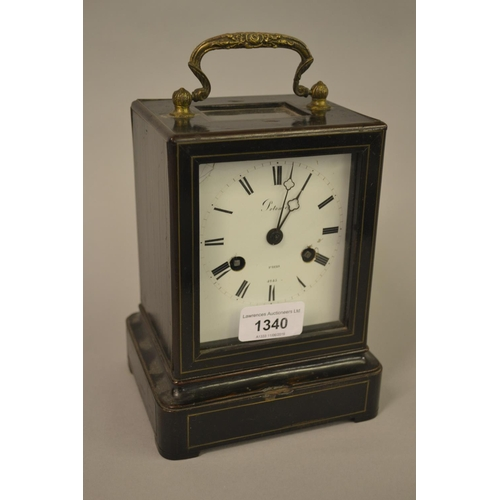 1340 - 19th Century French ebonised two train carriage clock, the enamel dial, signed Potorie, Paris, No. 4...