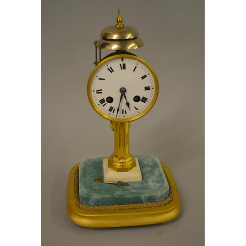 1345 - 19th Century French pillar clock, the enamel dial with Roman numerals striking on two bells on a gil...