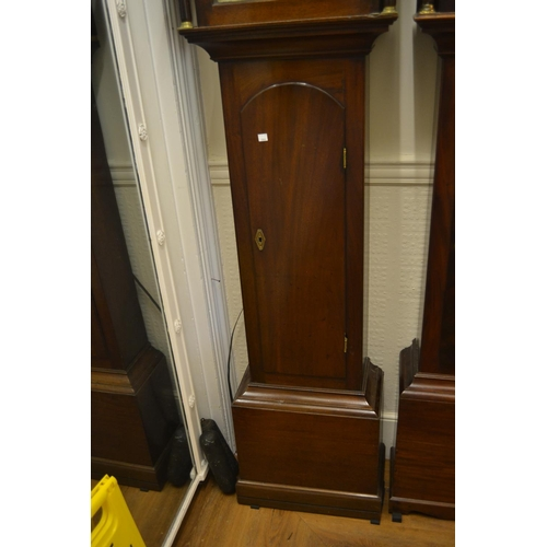 1349 - George III mahogany longcase clock with an arched hood above arched panelled door on plinth base, th...