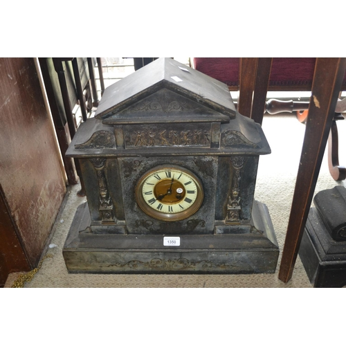 1350 - Large 19th Century black slate and gilt metal mounted mantel clock, the gilt and enamel dial with Ro...