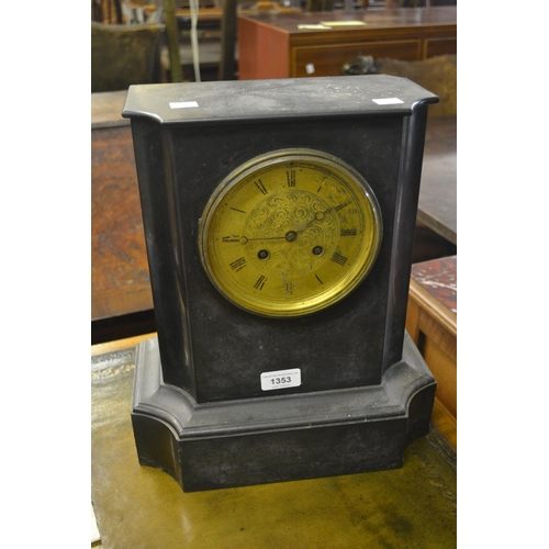 1353 - Large 19th Century black slate mantel clock, the engraved brass dial with Roman numerals, signed A.E...