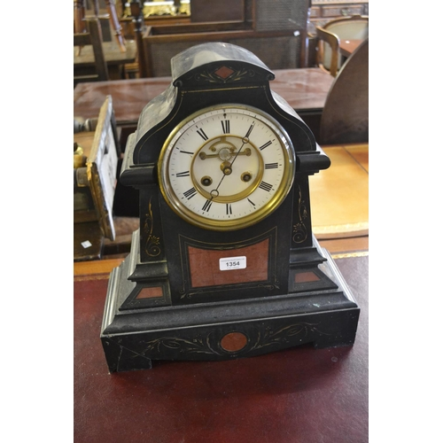 1354 - Large 19th Century black slate and rouge marble mantel clock, the architectural case enclosing an en...