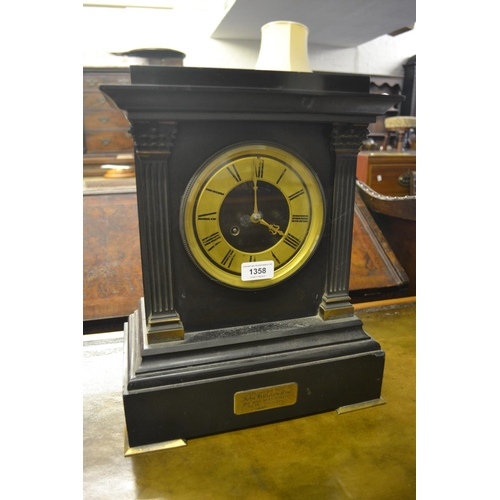 1358 - 19th Century black slate and gilt metal mounted mantel clock, the rectangular case with flanking pil...