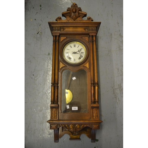 1360 - Late 19th or early 20th Century Continental walnut Vienna wall clock, the shaped surmount above an e...