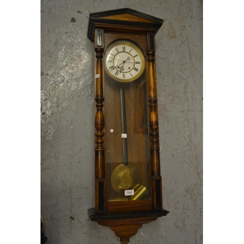 1362 - Late 19th or early 20th Century Continental beechwood and ebonised cased Vienna wall clock, the enam...