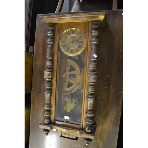 1364 - 19th Century Continental walnut cased Vienna style wall clock (at fault)...