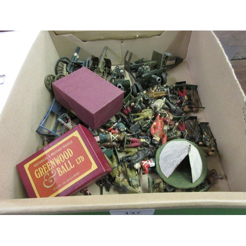 137 - Quantity of Britain's lead toy soldiers, canon and figures...