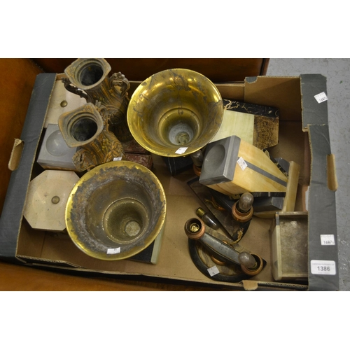 1386 - Box containing a collection of six pairs of Art Deco clock garniture side pieces...