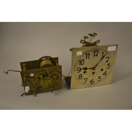 1390 - 19th Century four pillar longcase clock movement with anchor escapement together with a 1930's three...