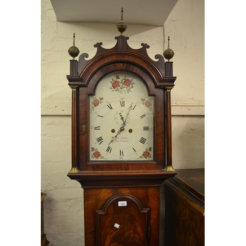 1393 - George III mahogany longcase clock, the arched hood with fluted columns above an arched door and pli...