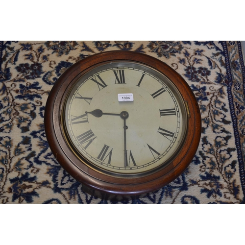 1394 - 19th Century circular mahogany wall clock, the 12in painted dial with Roman numerals and a single tr...