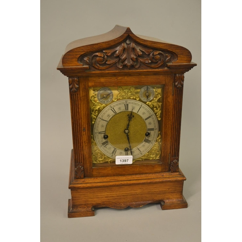 1397 - Late 19th Century oak cased bracket clock, the silvered and gilded dial with Roman numerals, subsidi...