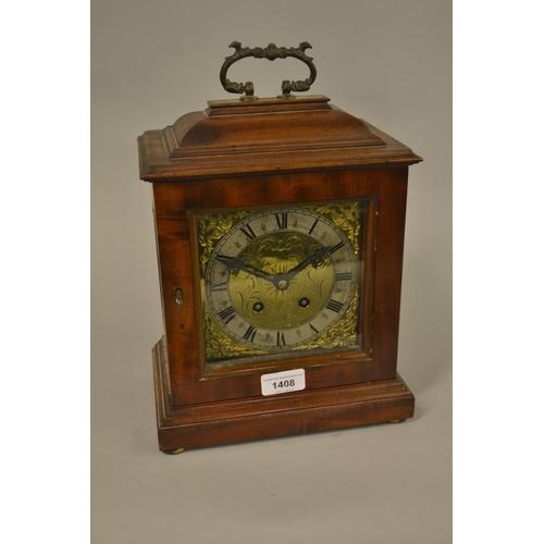 1408 - Reproduction mahogany two train bracket clock...