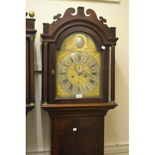 1410 - Mahogany longcase clock, the brass dial with silvered chapter ring, signed John Wimble Ashford, with...