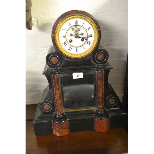 1411 - 19th Century black slate and rouge marble two train mantel clock...