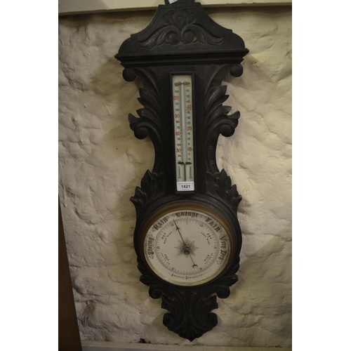 1421 - Victorian carved oak aneroid barometer / thermometer...