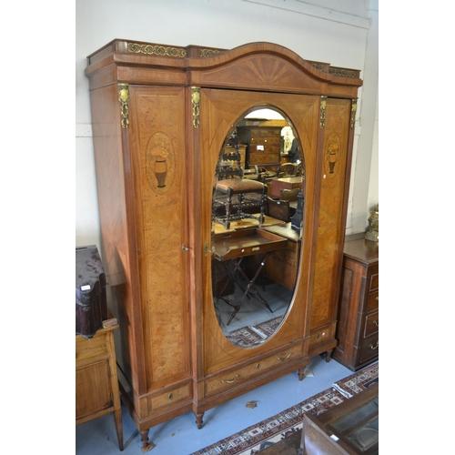 1425 - Late 19th / early 20th Century French breakfront wardrobe in inlaid crossbanded burr walnut, kingwoo...