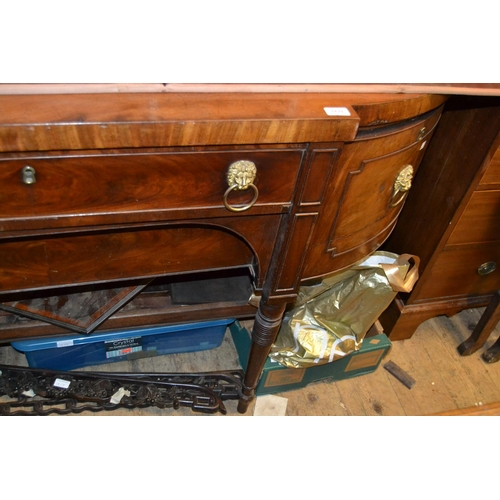 1429 - Large early 19th Century mahogany bow fronted sideboard having two central drawers flanked by a sing...