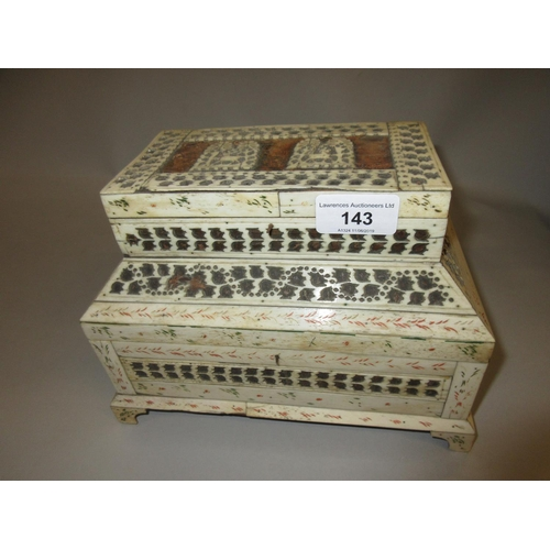 143 - 19th Century Indian bone jewel casket of stepped two tier design with hinged covers...