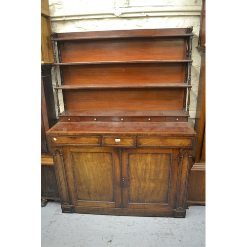 1436 - 19th Century mahogany chiffonier / side cabinet, the boarded shelf back with baluster turned upright...