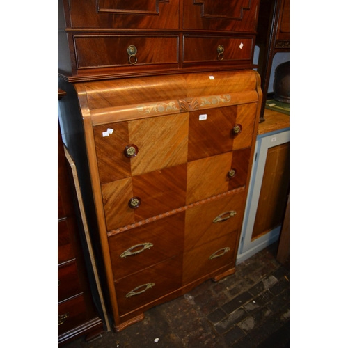 1452 - Mid 20th Century chest of four drawers on shaped supports, together with a 20th Century mahogany bur...