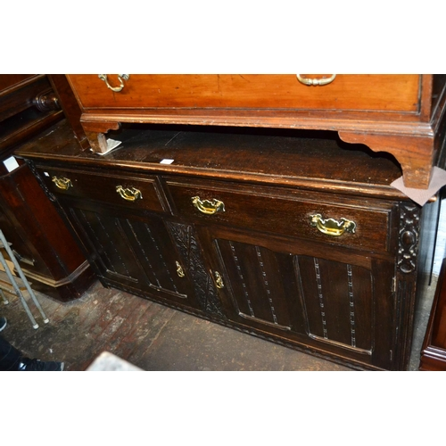 1471 - Late 19th or early 20th Century oak sideboard with two drawers above two panelled doors together wit...