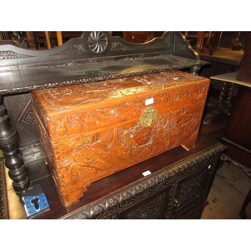 1924 - Small 20th Century Chinese trunk with hinged cover, 29ins wide, 15ins high...