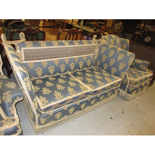 1927 - Knole type blue damask upholstered three piece sitting room suite...