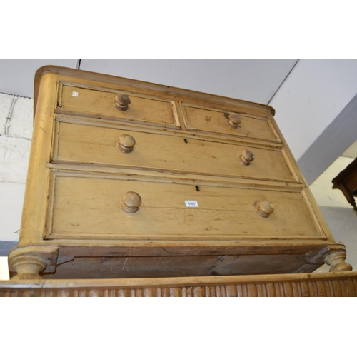 1965 - Victorian polished pine straight front chest of two short and two long drawers with knob handles, ra...