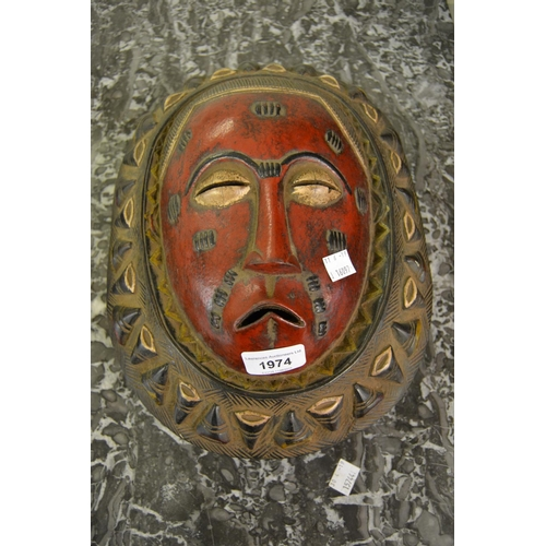 1974 - Baule red painted carved native moon mask...