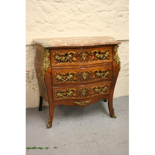 1981 - Late 19th / early 20th Century French floral marquetry inlaid Kingwood and ormolu mounted commode wi...