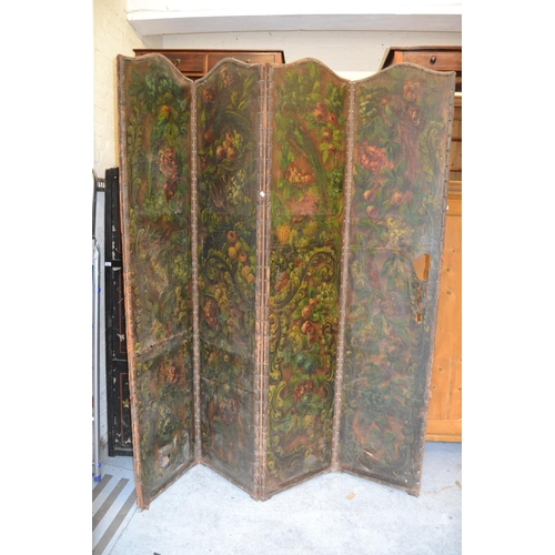 1987 - 19th Century leather four fold draught screen, each panel painted with fruit and flowers (at fault)...