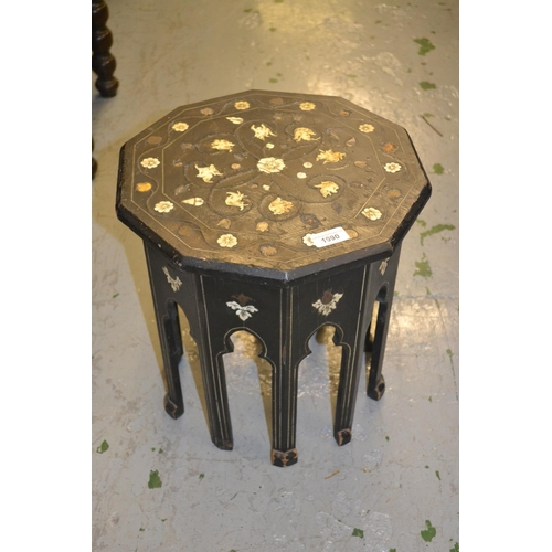 1990 - 19th Century ebonised octagonal occasional table in Moorish style, the top with ivory inlaid mask he...