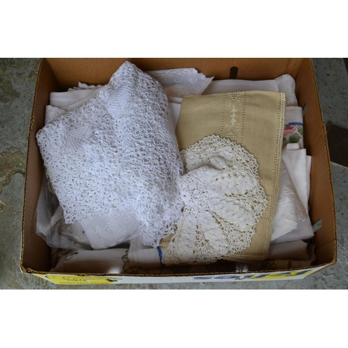 29 - Quantity of lace embroidered and damask table linen...