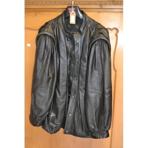 30 - Ladies brown leather and suede jacket, together with a ladies black jacket...