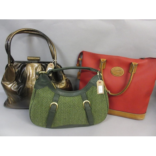 35 - Large Dents bronze shoulder bag and a Dents green tweed and leather trimmed bag, together with a lar...