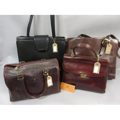 36 - Etienne Aigner, small burgundy leather holdall, another burgundy Etienne Aigner handbag, together wi...