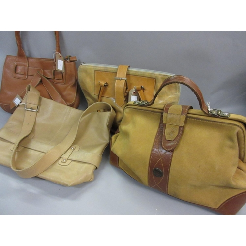 37 - Tacchini tan leather Gladstone bag together with three various beige leather shoulder bags...