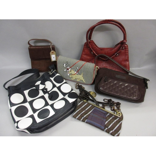 39 - Small Osprey brown leather handbag, Lulu Guinness blue and white striped canvas bag with dog motif, ...