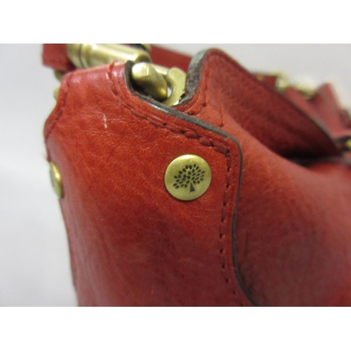 41 - Small red leather Mulberry handbag...